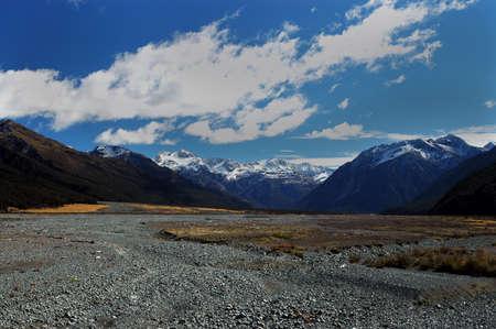 Dry Waimakariri River flood plain in New Zealand