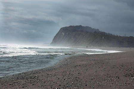 Stormy sea along coastline of New Zealands South Island