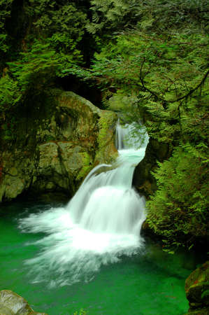 Twin Falls waterfall in Lynn Canyon in North Vancouver, Canada