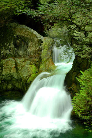 Twin Falls waterfall in Lynn Canyon, North Vancouver, Canada Stock Photo