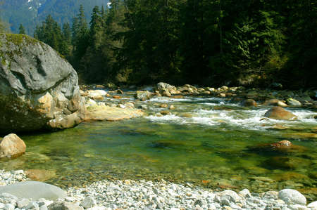 Deep pool on the edge of the Seymour River in North Vancouver, Canada