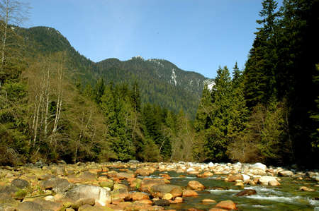 Small boulders on the edge of the Seymour River in North Vancouver, Canada