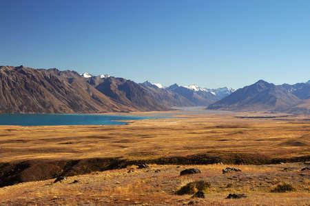 Lake Tekapo in the Mackenzie Country, South Island, New Zealand Stock Photo