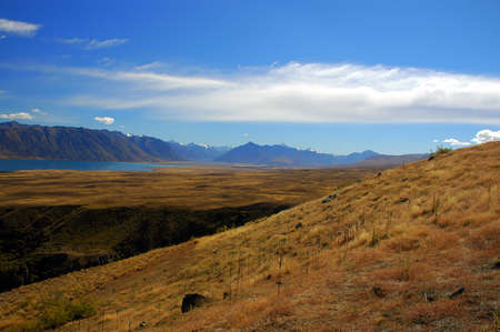 Grass and tussock hill at Lake Tekapo in the Mackenzie Country, South Island, New Zealand Stock Photo