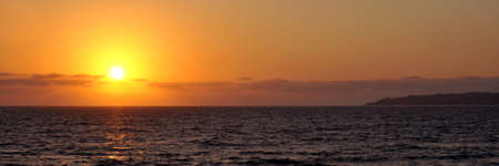 Beautiful panoramic pacific coast sunset in Mexico