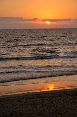 Pacific coast sunset portrait view in Mexico Stock Photo
