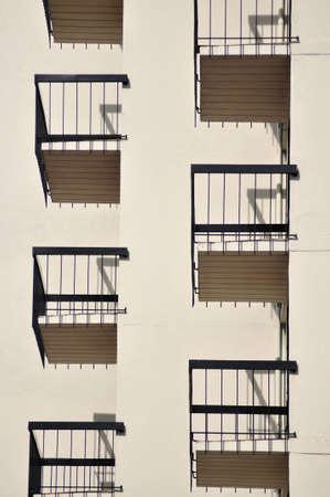 Symmetrical apartment balconies in Victoria, British Columbia, Canada