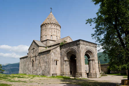 Mount stands the magnificent church of Tatev Stock Photo