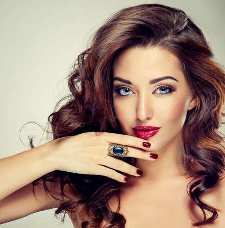 burgundy colour: Glamour Fashion Woman Portrait Stock Photo