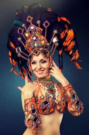 folk dancing: Dancer in motion in carnival costume