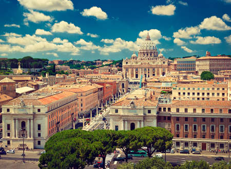 point of view: High point view over city of Rome Italy