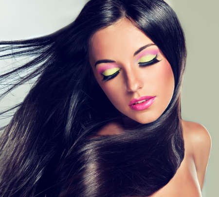 flying hair: Model with flying hair and trendy makeup