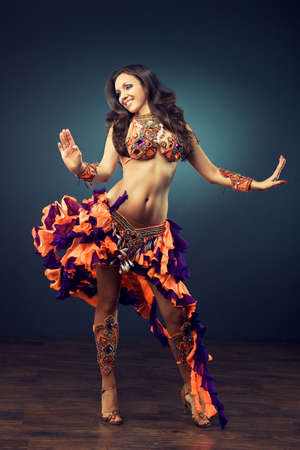 bellydance: dancing girl in the carnival costume