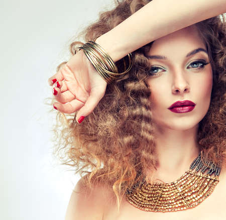 Model with curly hair