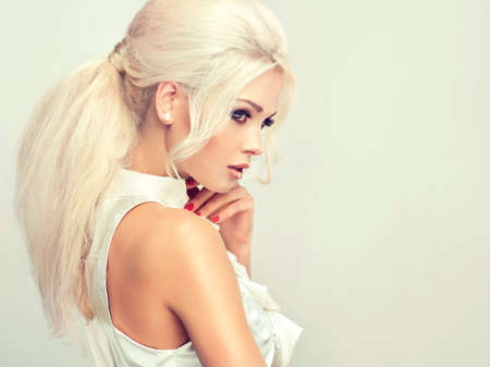 styles: Beautiful model  with retro hair style , bouffant hair, and a bushy tail Stock Photo