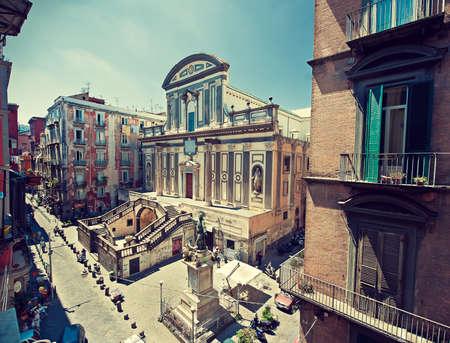 via: Italy Napoli Old church on via Tribunali