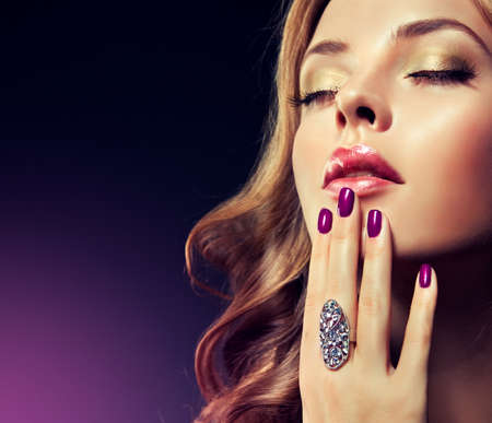 look make: Luxury fashion style manicure cosmetics and makeup hair Stock Photo