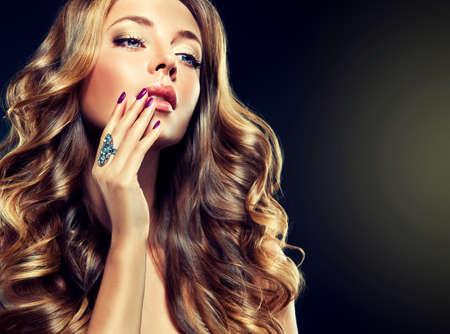 Luxury fashion style manicure cosmetics and makeup hair Standard-Bild