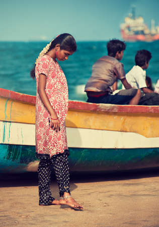 feelings and emotions: Chennai, Tamil Nadu state, India. Young dreaming indian girl on Chennai