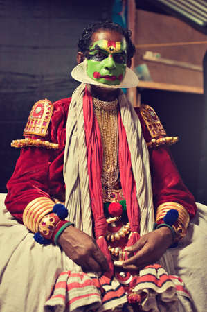 beggary: Kerala state, India.Tired Kathakali dancer after show. Editorial