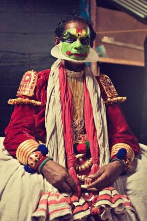 kathakali: Kerala state, India.Tired Kathakali dancer after show. Editorial