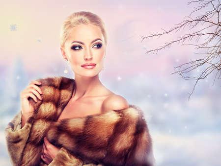 silver fox: Winter Woman in Luxury Fur Coat. Beauty Fashion Model Girl
