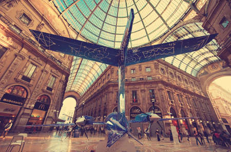 view of an atrium in a building: Milan. Italy. Space jet demonstrated in central Milan gallery.