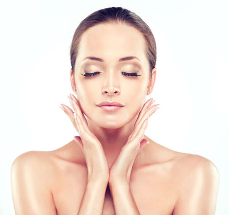 fresh women: Beautiful Young Woman with Clean Fresh Skin close up portrait. . Skin care face . Cosmetology