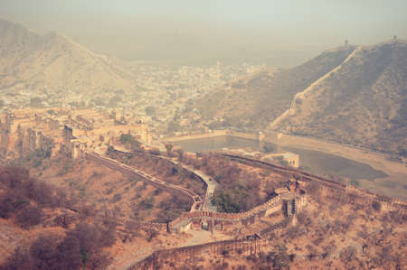 amber fort: Misty valley. View from walls of Amber Fort. India.  Rajasthan. Jaipur.