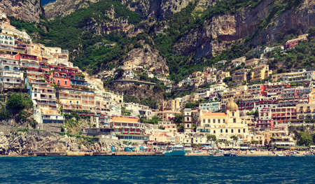 italian landscape: Italy , Amalfi coast , Positano. Landscape from water.  Ancient town on the rocks.