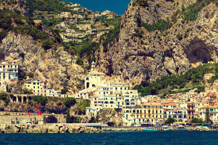 water town: Amalfi coast ,Amalfi. Landscape from water.    Ancient town on the rocks.
