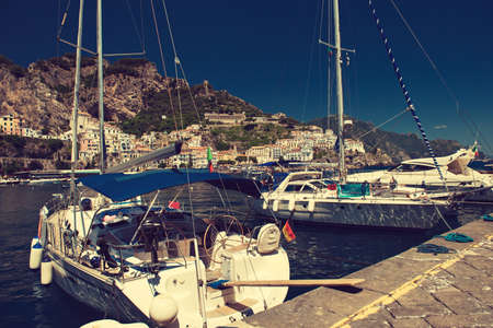 positano: Italy,Amalfi coast,Amalfy. Boat quay in Amalfi bay.