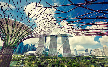 Singapore.  view on Marina Bay sands hotel from flying gardens.Gardens by bay.