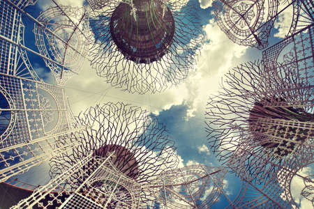 Singapore. Futuristic design and fancy decorations of Marina bay gardens. Gardens by bay. View from below.