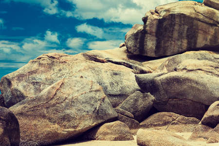 Thailand,koh Phangan island, big boulders on the sky background.
