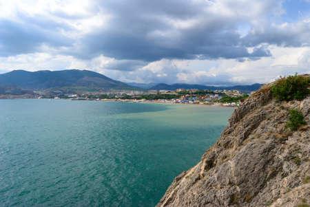 sudak: Panorama  Black sea in Sudak city Stock Photo