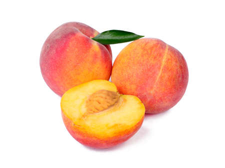 Peach fruits isolated on white background photo