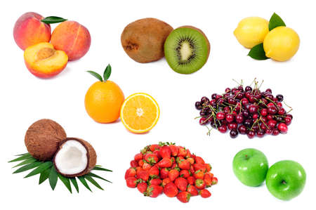 Set of fresh fruits isolated on white background photo