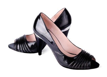 Women s black high-heeled shoes photo