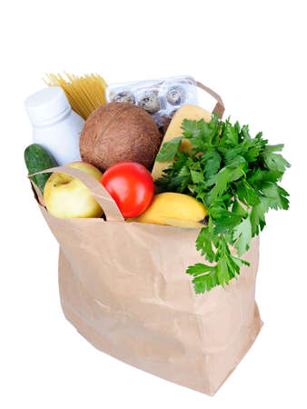 grocery bag: Paper bag with food on a white background