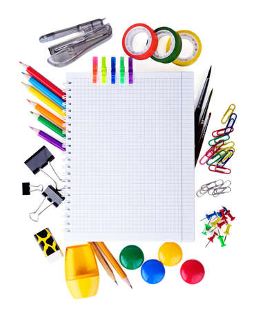 School education supplies items isolated on white background photo