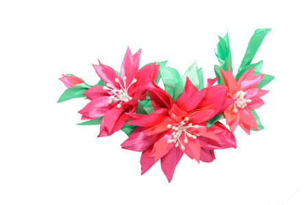 Kanzashi. Red pink artificial flower isolated on white background