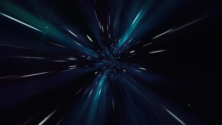 Interstellar travel through a dark blue wormhole filled with stars. Space journey through time continuum. Warp in science fiction black hole vortex hyperspace tunnel
