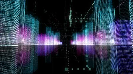 Ilustración 3D de holograma digital abstracto de la ciudad con matriz futurista. Edificios digitales con una red de partículas de código binario. Concepto de tecnología, conexión y red. Fondo de HUD en 4K