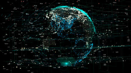 Planet Earth in the global futuristic cyber-network with connection lines around the globe. The neural artificial grid represents data and cryptocurrency exchange in business and finance worldwide Stockfoto