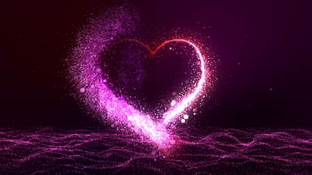 Valentines day glowing red and pink bright particle heart with flourish and bokeh glitter particles. Beautiful love symbol for Saint Valentines holiday over pink particle waves. Ultra HD