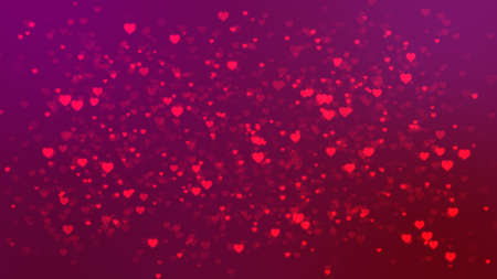 Valentines day bright background with flying hearts. Bright pink red colored hearts glow across dark pink background. This backdrop is great for Love and passion themed footage