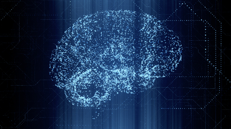 Digital Artificial Intelligence bright blue brain appears in a particle of binary data scan in futuristic cyberspace. Neural network deep learning technology concept. 3D illustration