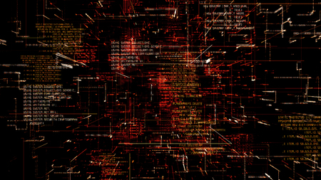 Futuristic abstract programming red digital code flythrough. Scientific technology data binary network 3D illustration. Connection, blockchain and internet concept.