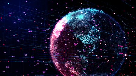 3D illustration of red planet Earth in global futuristic cyber-network, connection lines around the globe. Neural artificial grid shows data flow and cryptocurrency exchange in business concept. Stockfoto